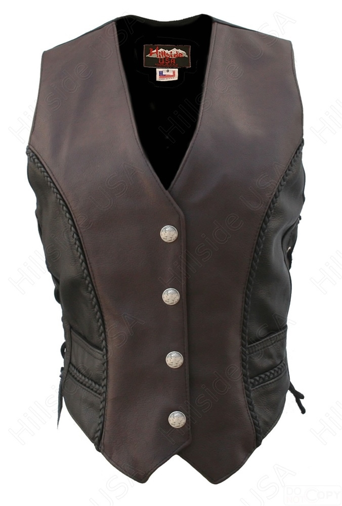Black, XX-Large LEATHER KING Womens Snap and Lace Front Vest