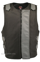 Leather Bulletproof Style Vest - Removable Flap - Black / Grey