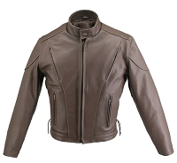 Men's Full Brown Leather Vented Biker Jacket with Gun Pockets