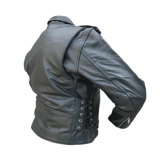 a7b338ff7767 Mens Black Leather Motorcycle Jacket - Side Lace Zip Out Lining