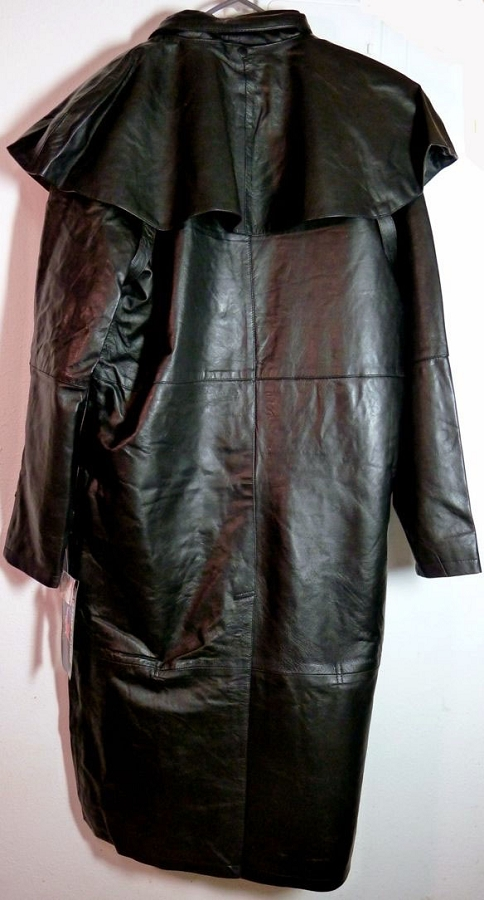 BLACK, 4X Milwaukee Performance Mens Leather Duster with Removable Cape