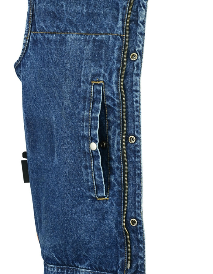 Mens Collarless Concealed Snap Gun Pockets Zipper Black Denim Vest
