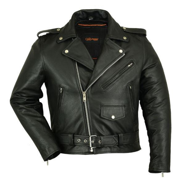 mens old school classic half belt black leather biker. Black Bedroom Furniture Sets. Home Design Ideas