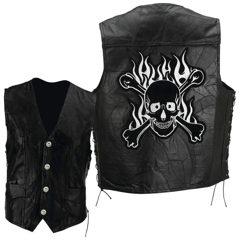 Black Leather Motorcycle Biker Vest With Flaming Skull