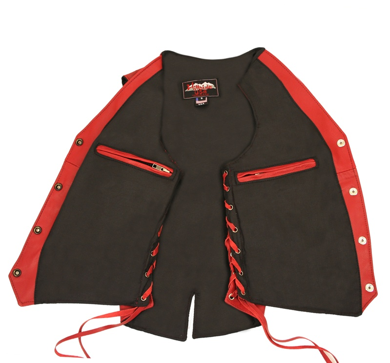 Womens Red Leather Biker Motorcycle Vest Side Laces