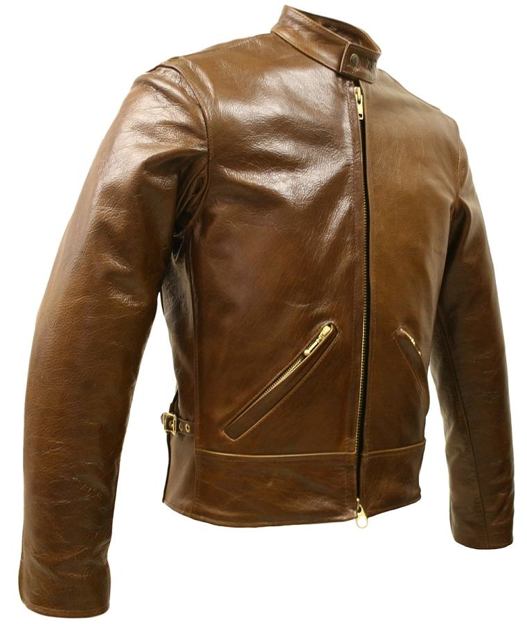 Mens Brown Bison Leather Brown Biker Jacket with Gun Pockets