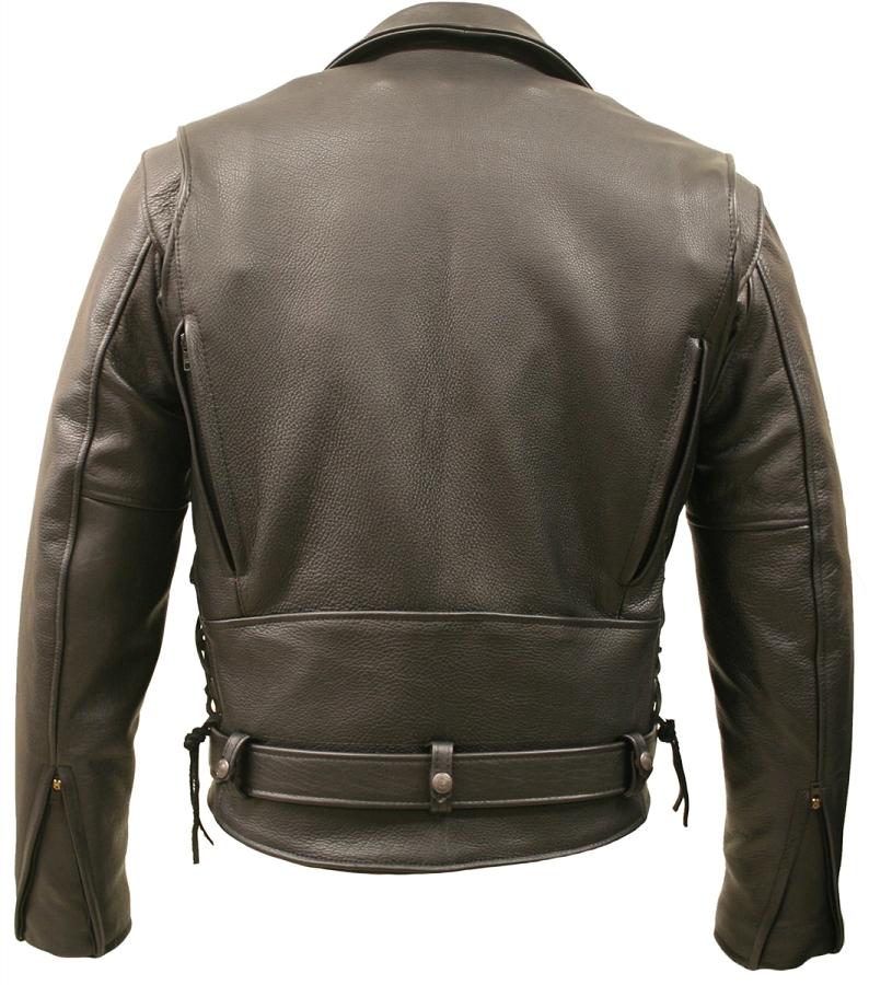 Mens Brown Bison Leather Vented Biker Jacket with Gun Pockets