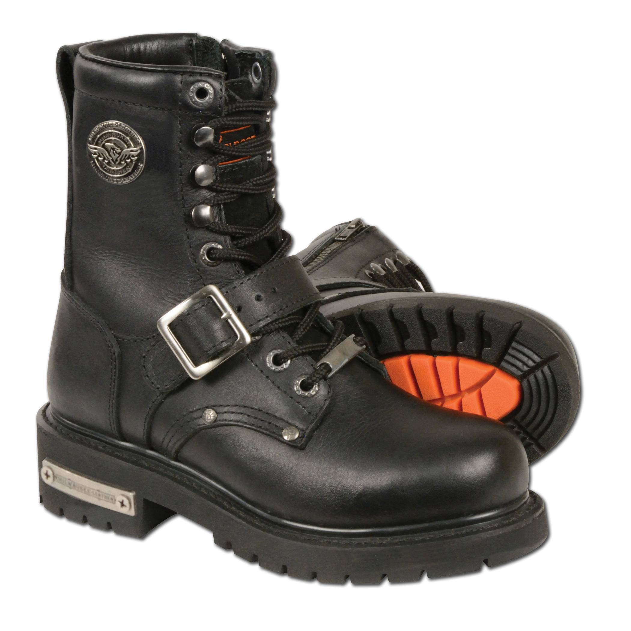black leather classic motorcycle boots