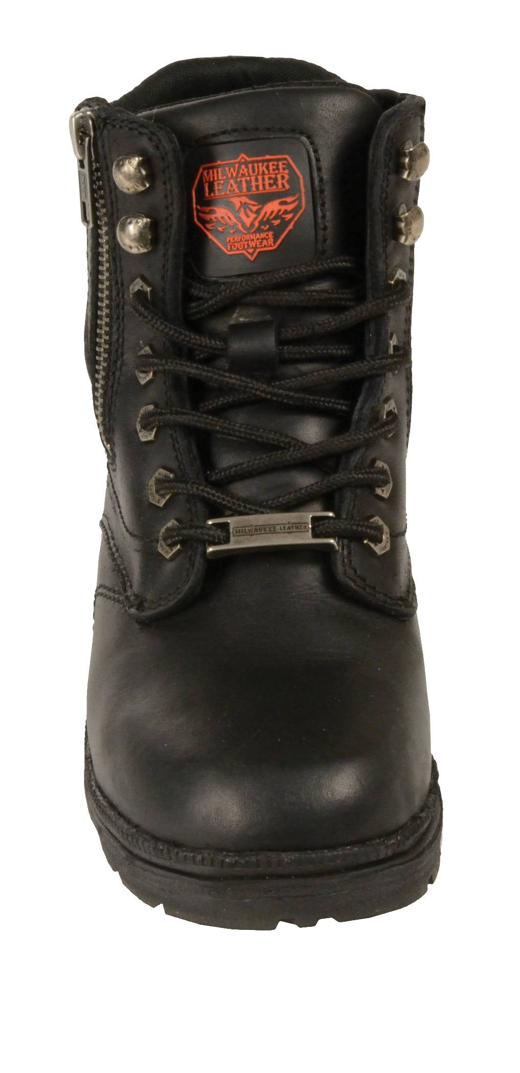 Ladies Black Leather Lace Up Riding Boots W Side Zipper