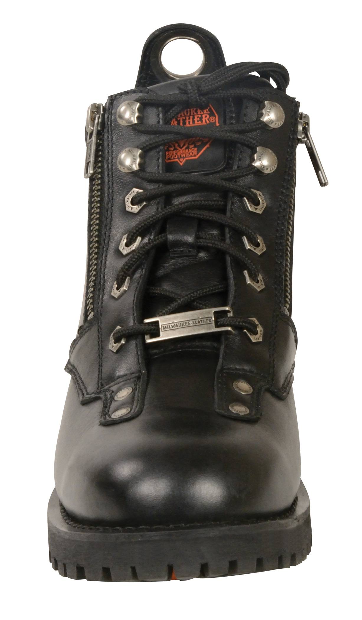 Milwaukee Mens Motorcycle Riding Biker Lace to Plain Toe Leather Boot Shift Protection 14