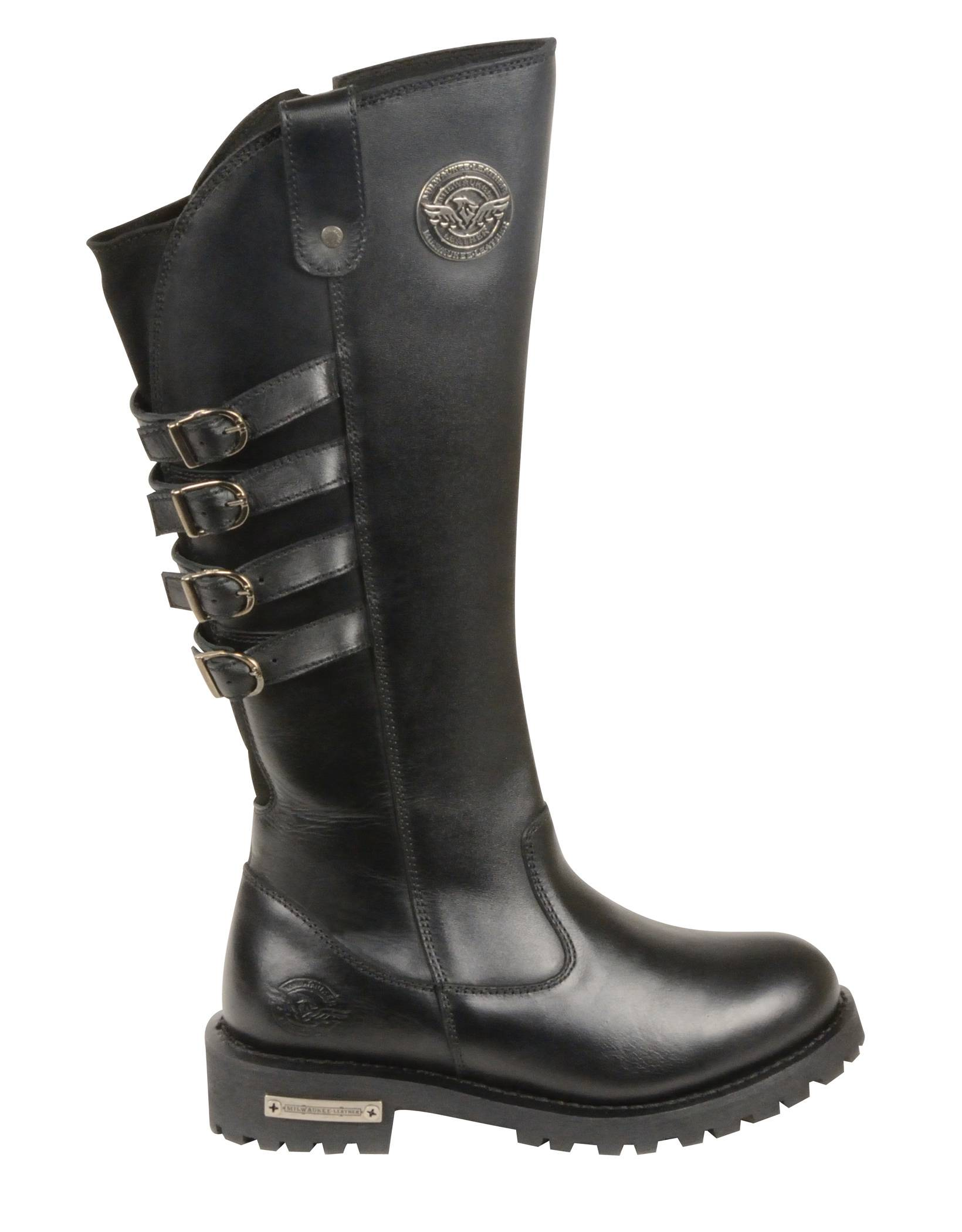 black leather 15 quot high rise boots square toe