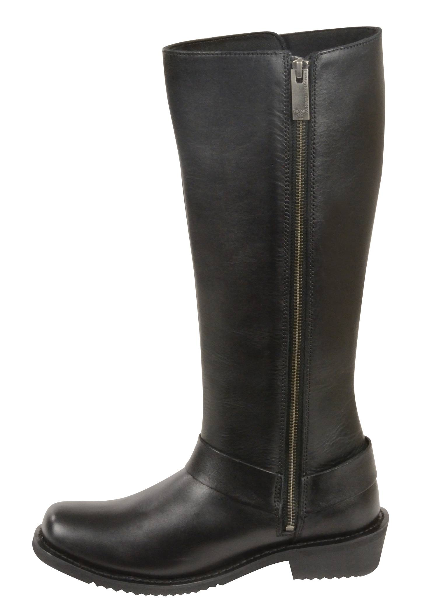 black leather 14 quot high rise boots square toe