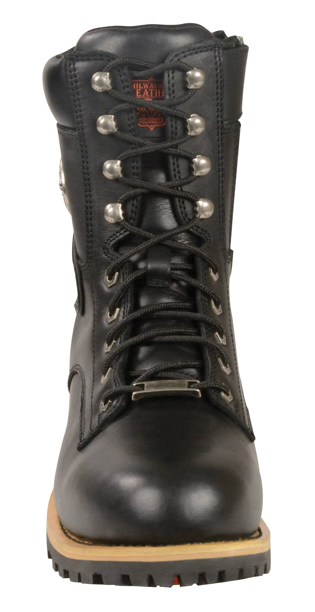 mens black leather lace to toe boots size zipper closure