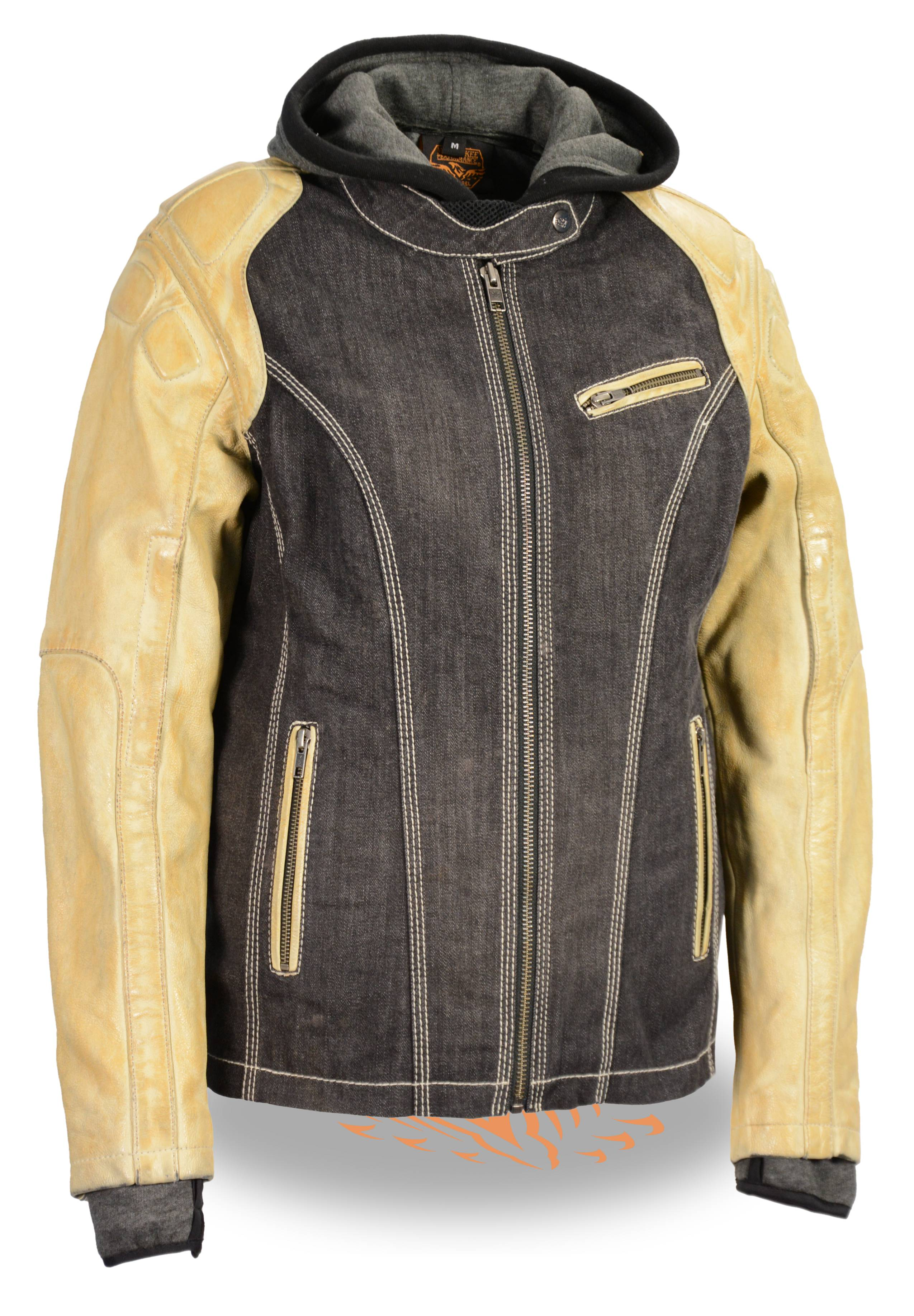 524b6ef5caee7 Ladies Two Tone Denim and Leather Scuba Jacket w Full Hoodie Liner