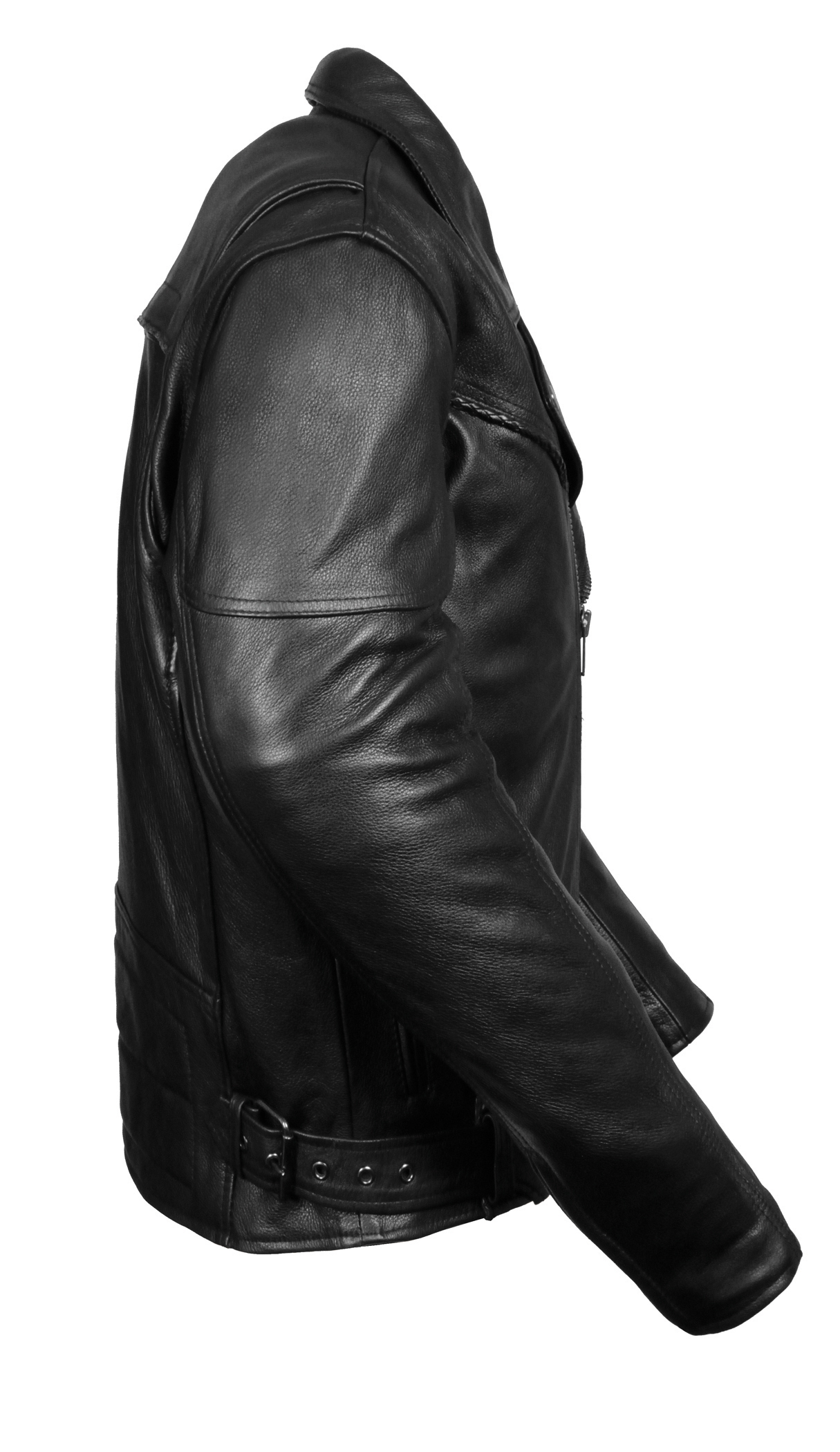 Mens Black Braided Leather Motorcycle Jacket W Utility Pockets
