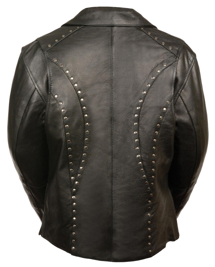 Ladies Black Leather Vented Classic Jacket w Rivet Detailing and Gun Pockets