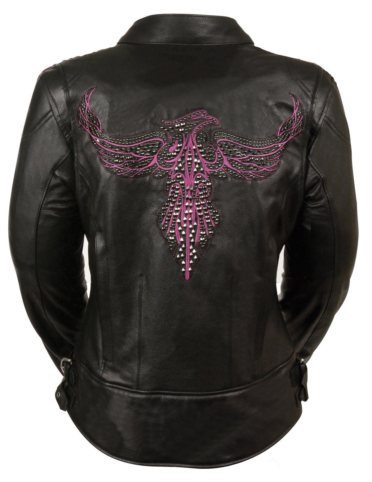 Pink leather biker jacket
