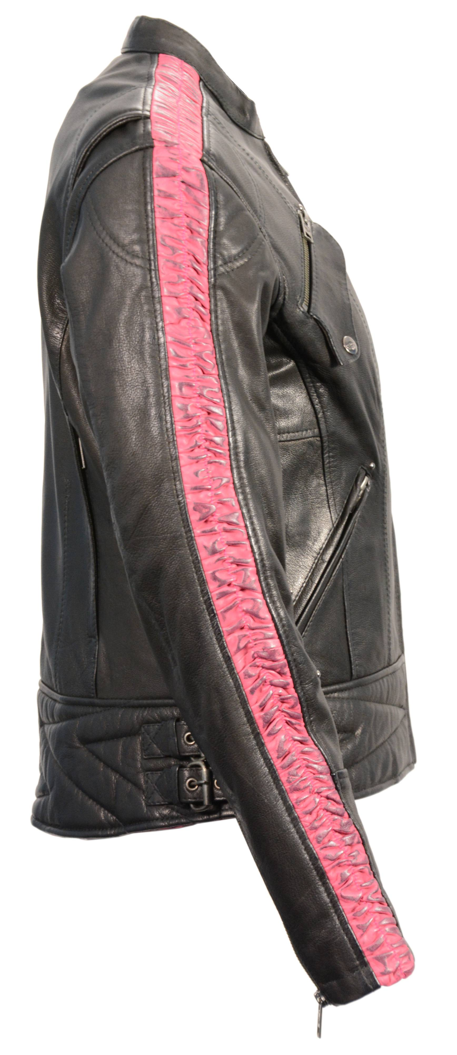 Womens Naked Black and Pink Leather Motorcycle Vest