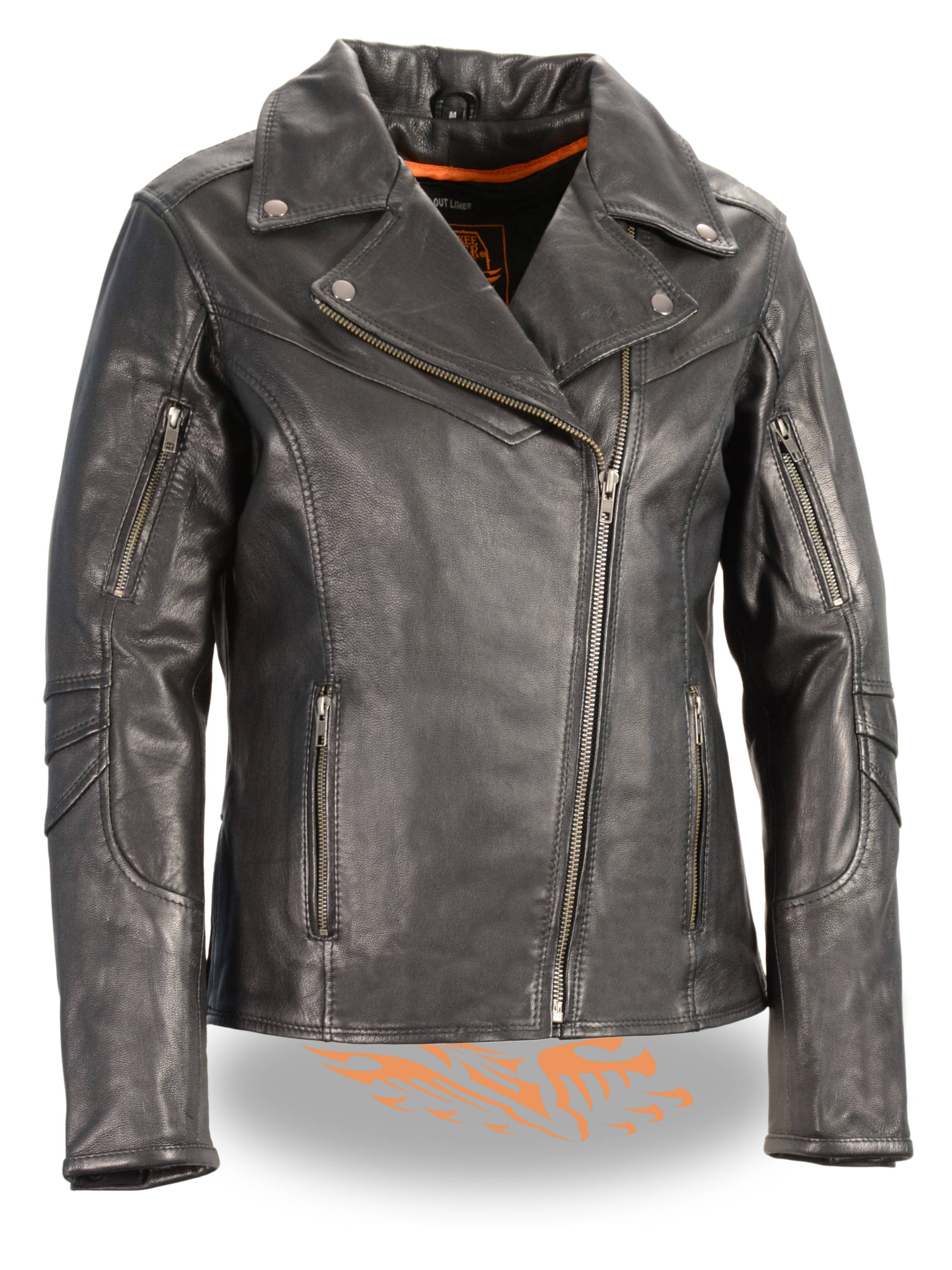Ladies Black Leather Light Weight Biker Jacket Beltless Vented