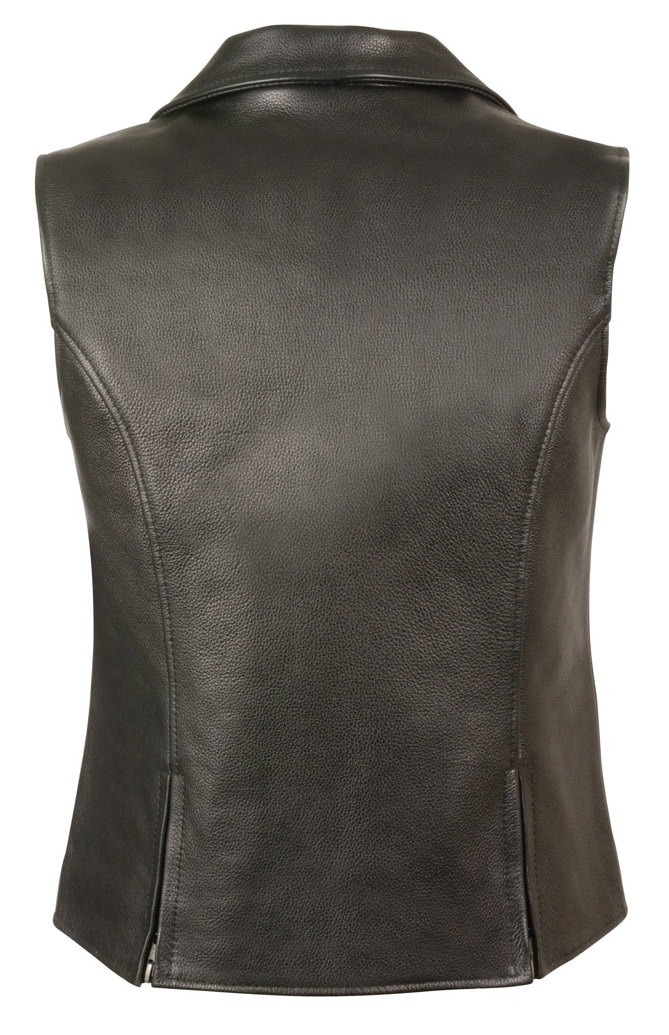 Milwaukee Leather Mens Zipper Front Replica Bullet Proof Style Leather Vest Black, Size 38