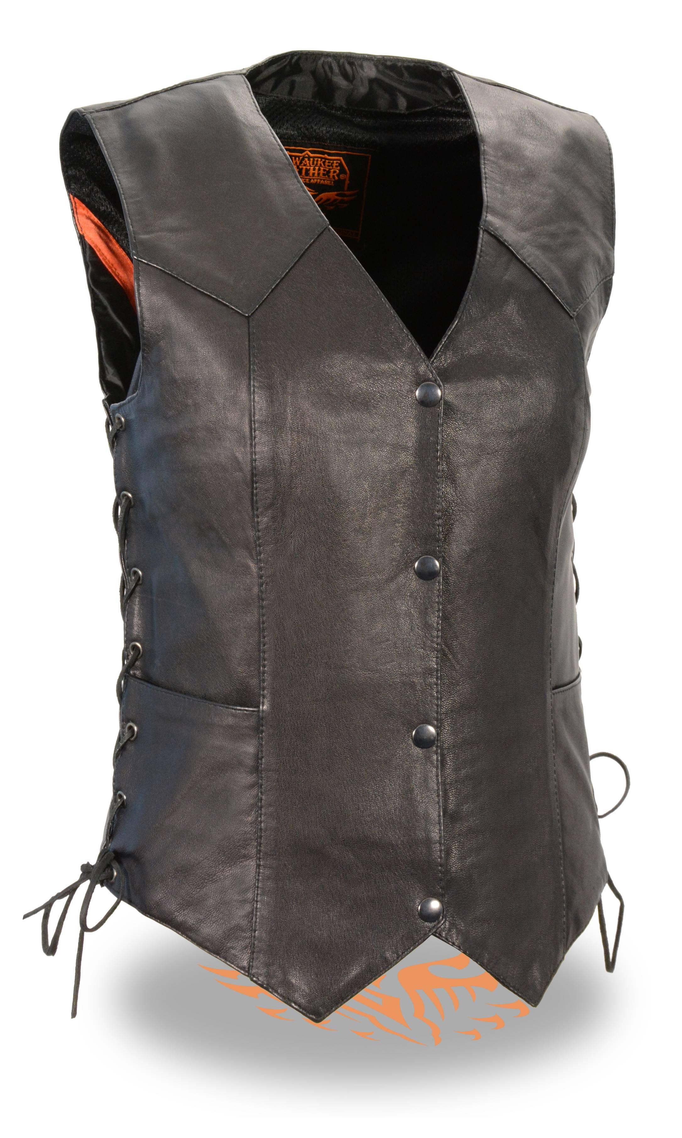 Ladies Black Naked Goatskin Leather Biker Vest, Light Weight