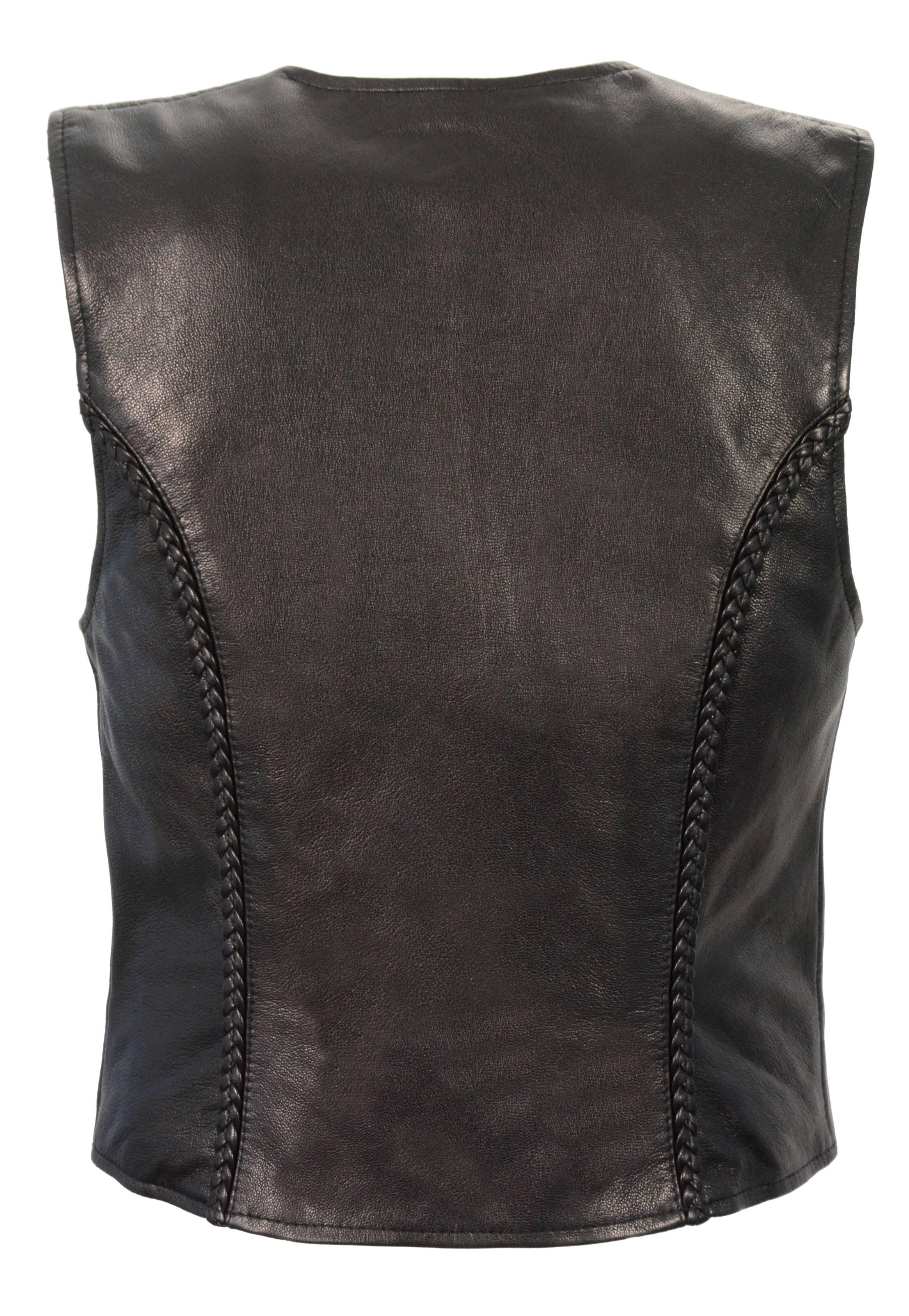 Ladies Black Naked Goatskin Leather Biker Vest, Light