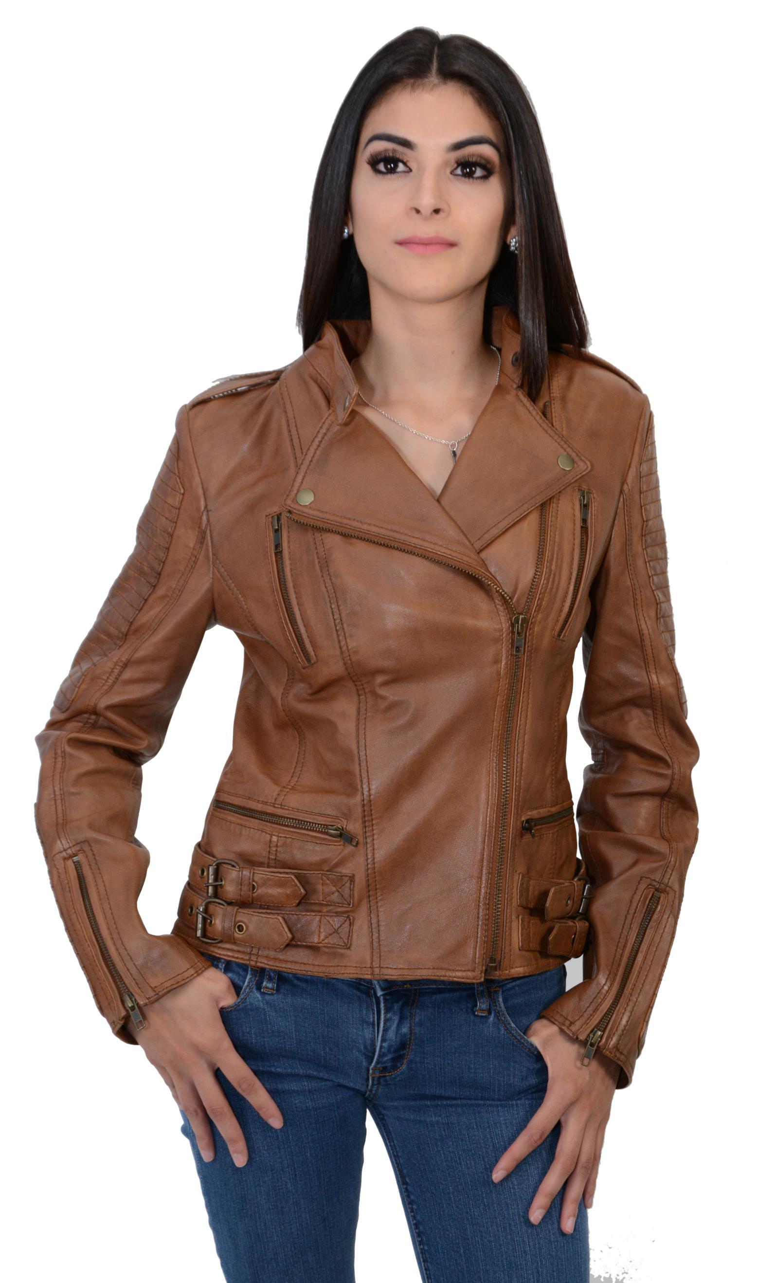 Lambskin leather jacket for women