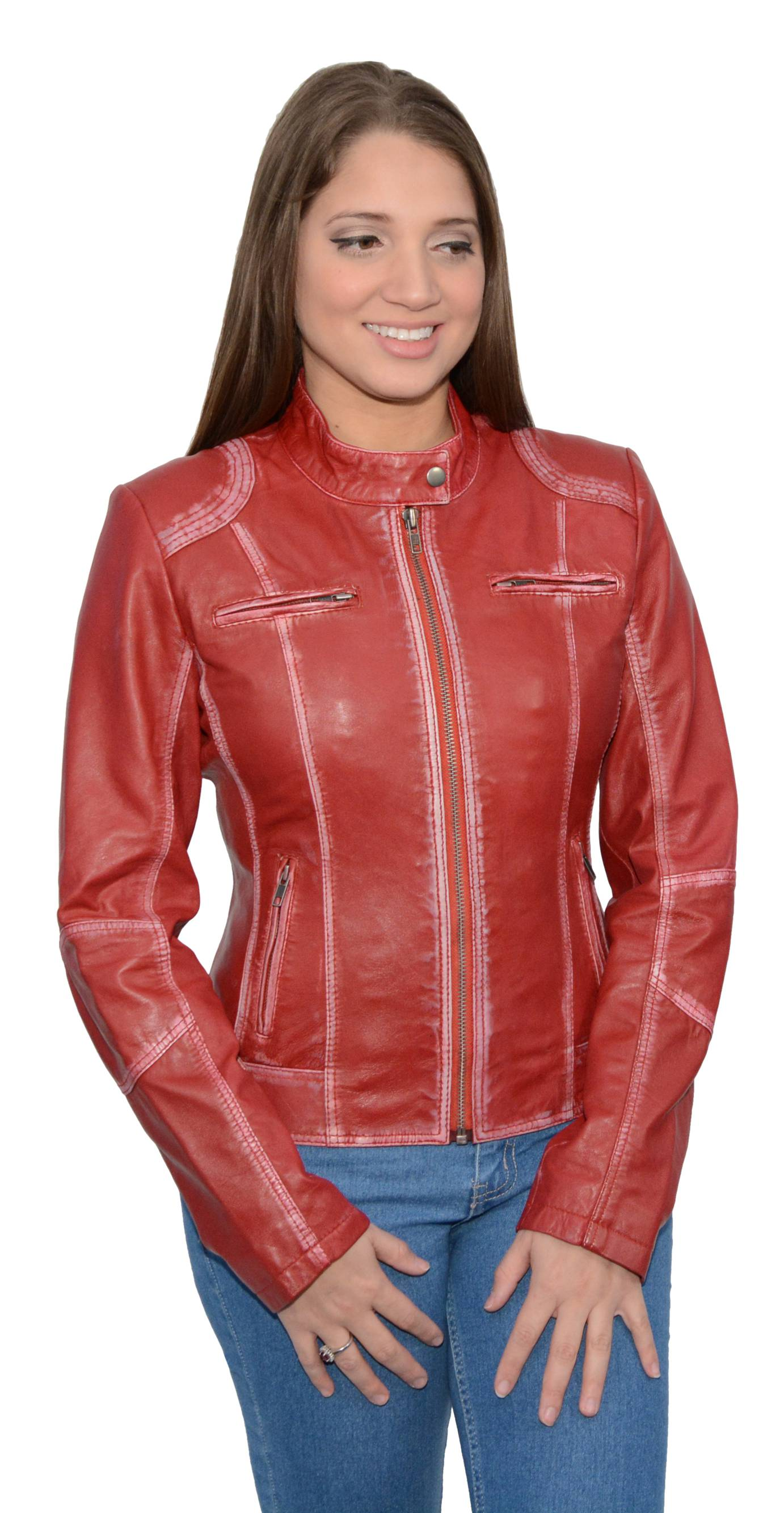 ladies red leather jacket - photo #47