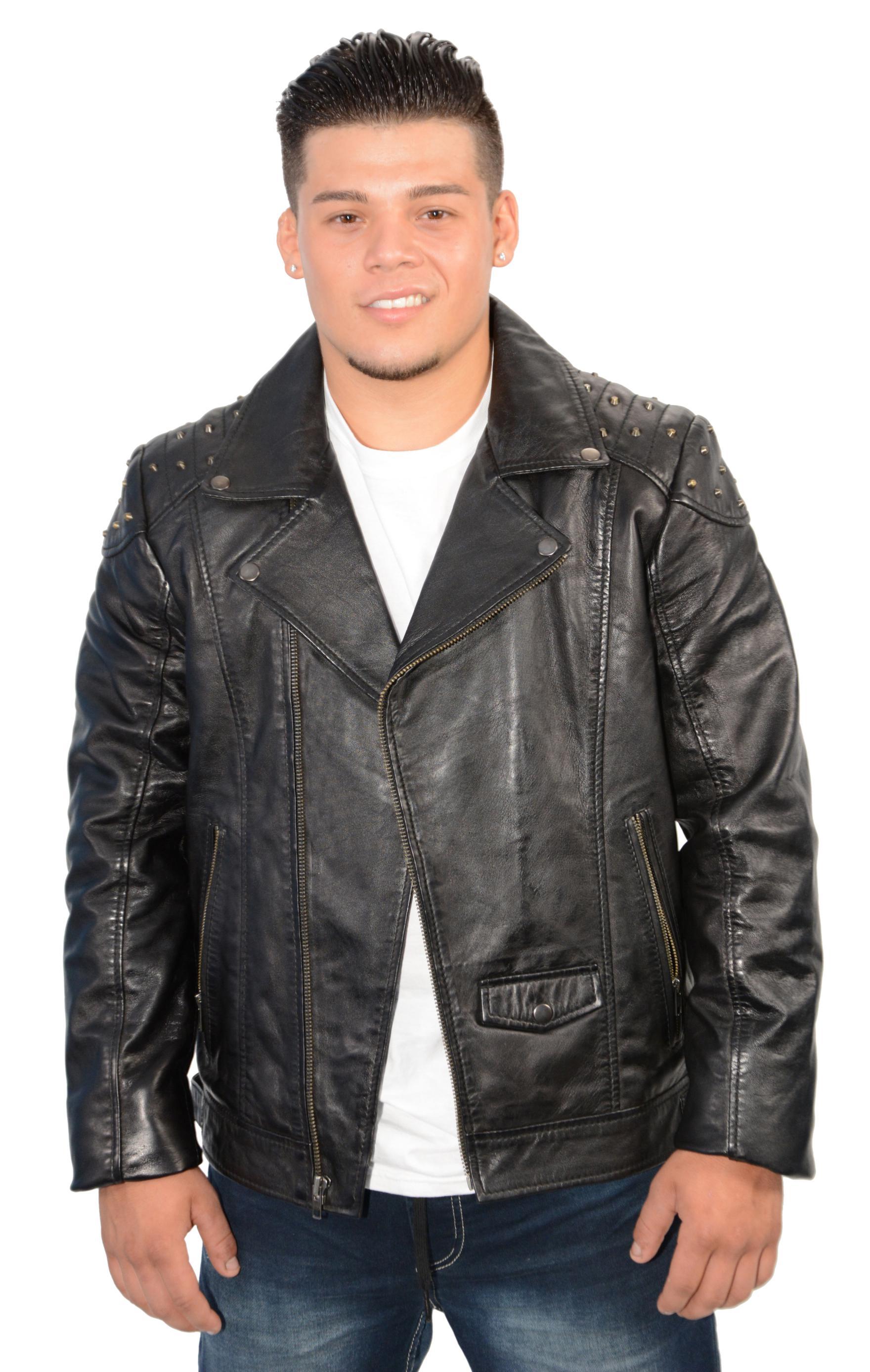 Mens Black Lambskin Leather Jacket Classic Motorcyle Look