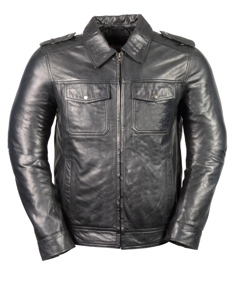 Size Large - Mens Black Urbanite Casual Leather Jacket w Shirt ...