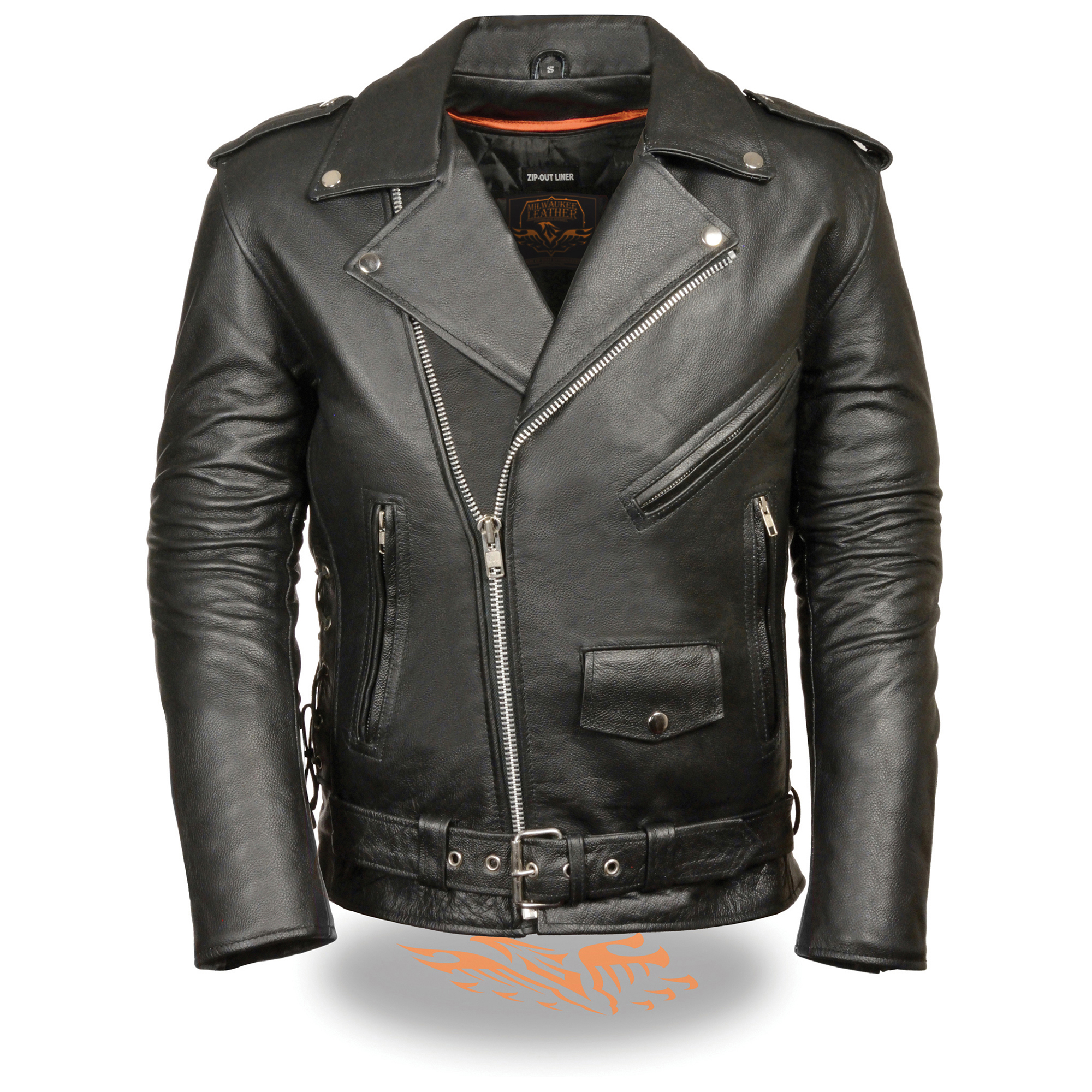 leather jacket motorcycle police mens jackets
