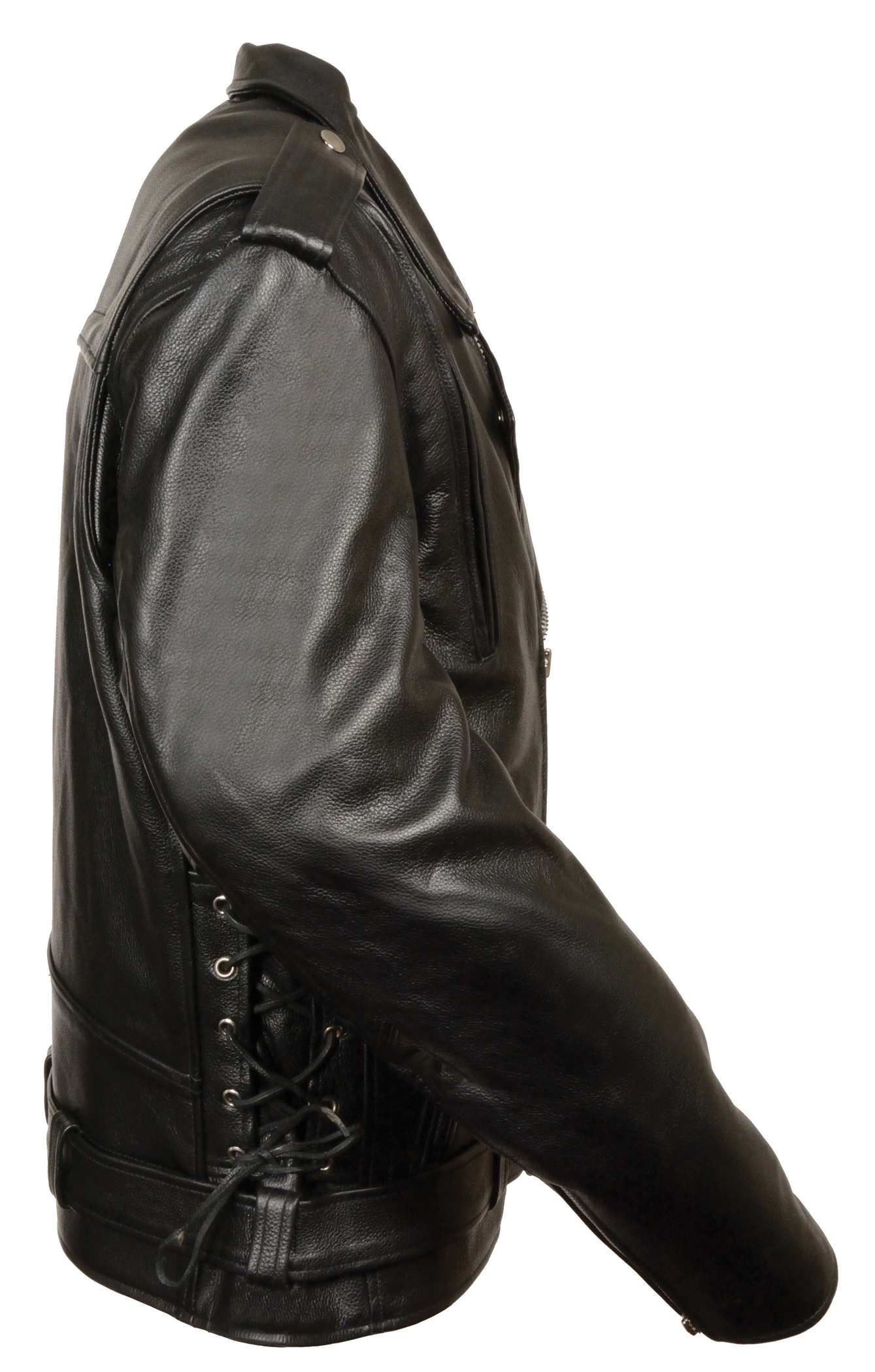 59d6e343300a Mens Black Classic Leather Motorcycle Jacket w Side Lace and Vents