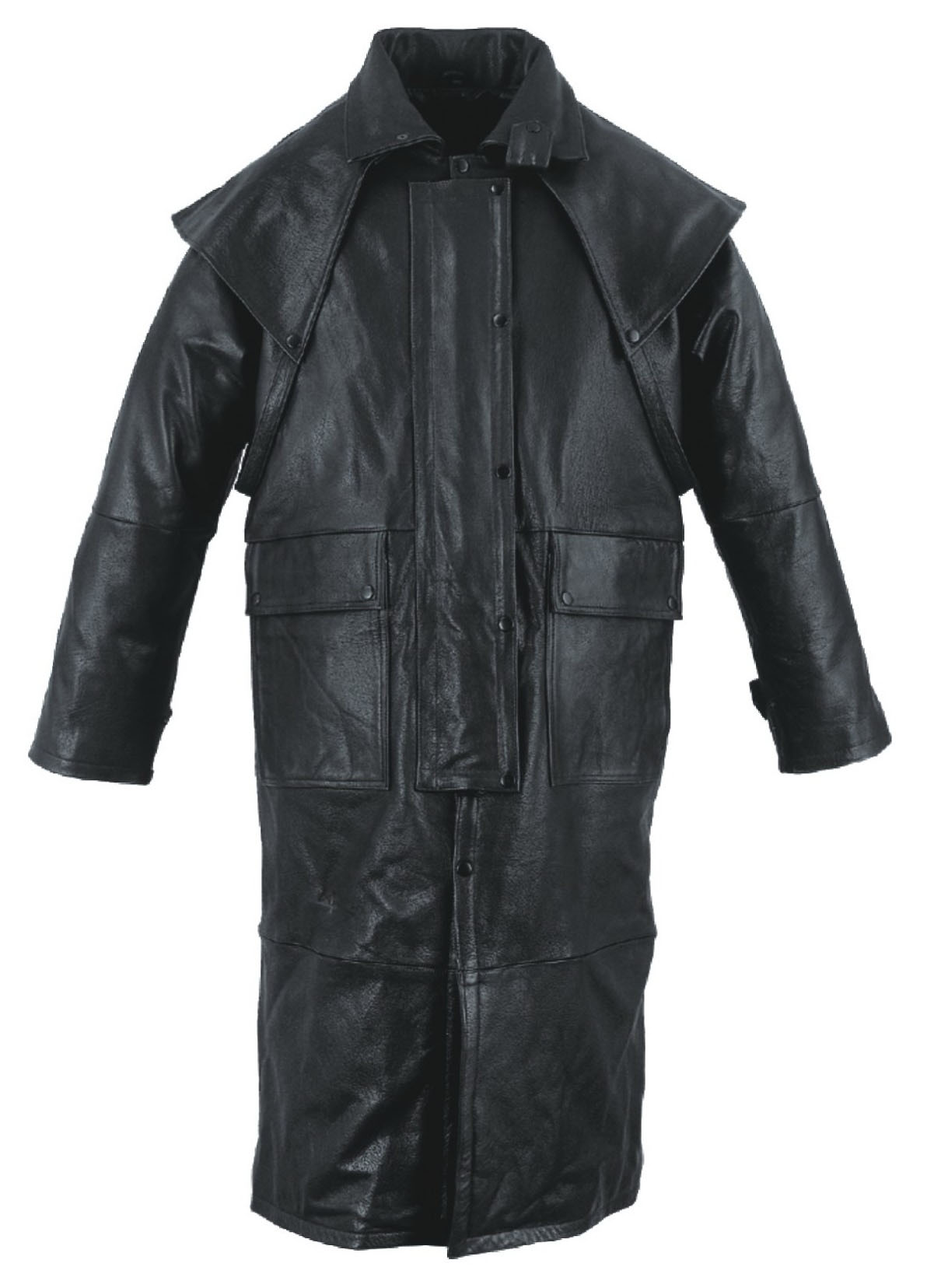 Mens Black Leather Motorcycle Duster w Removable Cape, Leg ...