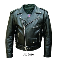 Allstate Mens Black Water Buffalo Hide Classic Motorcycle Biker Jacket