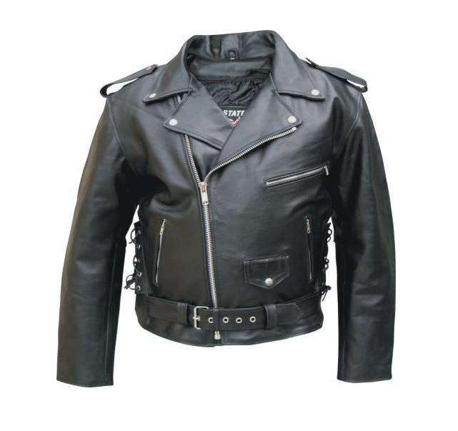 213e8ffe4a6 Mens Black Leather Motorcycle Jacket - Side Lace Zip Out Lining