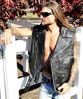 Mens Sleeveless Jacket Black Buffalo Leather Motorcycle Biker Vest