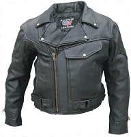 Mens Black Braid Trim Classic Motorcycle Biker Jacket