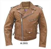 Allstate Men's Basic Brown Leather Motorcycle Biker Jacket