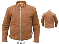 Allstate Men's Brown Leather Scooter Jacket Euro Collar