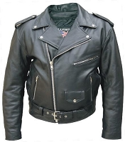 Mens Classic Black Leather Motorcycle Biker Jacket - Tall