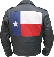 Mens Black Half Belt Classic Motorcycle Biker Jacket Texas Flag