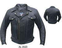 Mens Black Vented Leather Motorcycle Biker Jacket