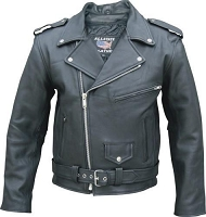 Mens Black Full Belt Classic Motorcycle Biker Jacket