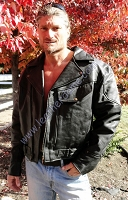 Mens Drum Dyed Naked Buffalo Black Leather Biker Motorcycle Jacket