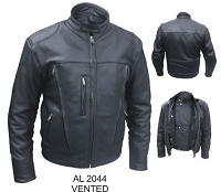 Mens Black Vented Leather Riding Motorcycle Biker Jacket
