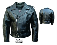 Mens Black Vented Full Belt Classic Motorcycle Biker Jacket