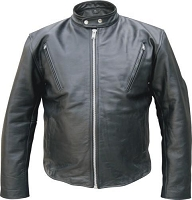 Mens Black Leather Vented Bomber Scooter Jacket Euro Collar