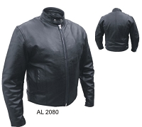 Allstate Mens Black Leather Scooter Jacket w Euro Collar