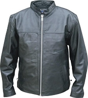 Allstate Mens Black Leather Scooter Shirt Jacket Side Lace