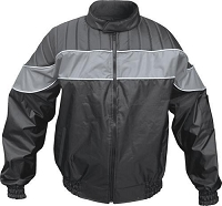 Black Nylon Water Resistant Riding Jacket w Gray Reflector Stripe
